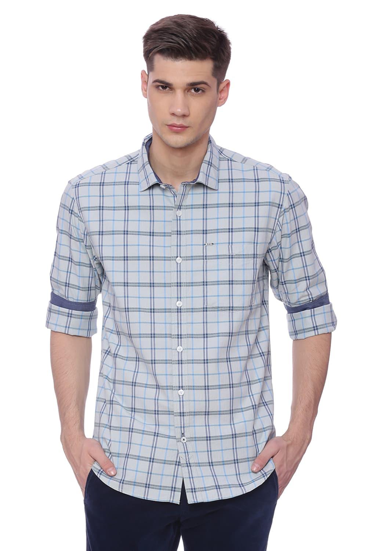 Basics | Basics Slim Fit Cendre Blue Checks Shirt