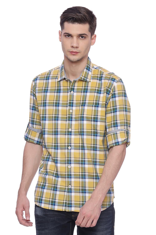 Basics | Basics Slim Fit Misted YellowChecks Shirt