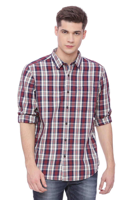Basics   Basics Slim Fit Ruby Red Checks Shirt