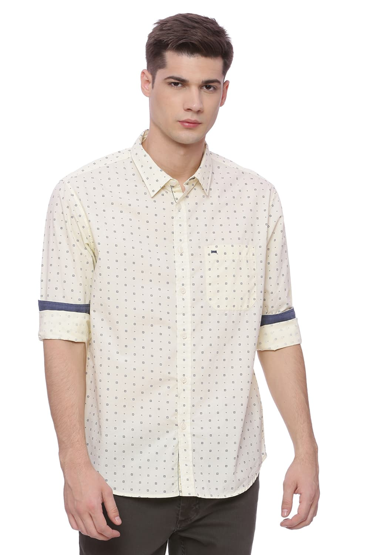 Basics | Basics Slim Fit After Glow Yellow Printed Shirt