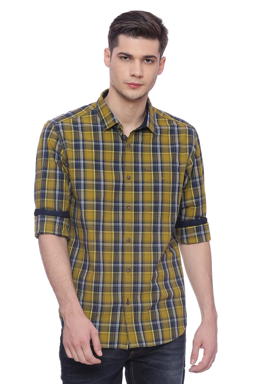 Basics | Basics Slim Fit Dried Tobacco Checks Shirt