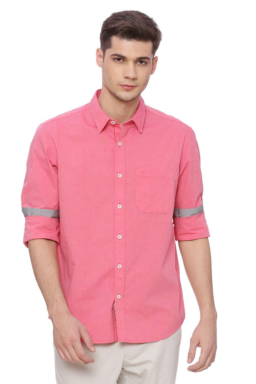 Basics   Basics Slim Fit Geranium Red Fil a Fil Shirt