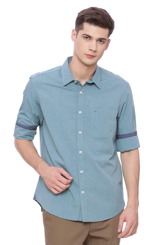 Basics   Basics Slim Fit Everglade Green Fil a Fil Shirt