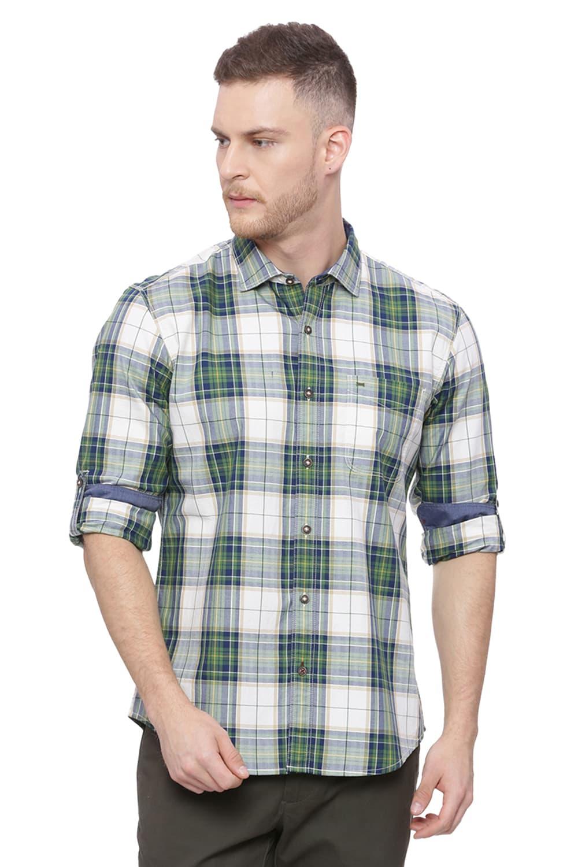 Basics   Basics Slim Fit Artichoke Green Checks Shirt