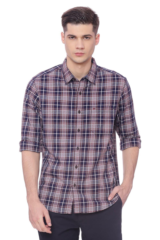 Basics | Basics Slim Fit Mocha Bisque Checks Shirt