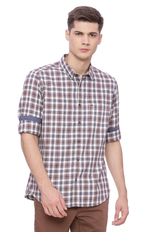 Basics | Basics Slim Fit Friar Brown Checks Shirt