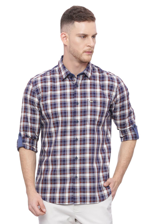 Basics | Basics Slim Fit Patridge Brown Checks Shirt