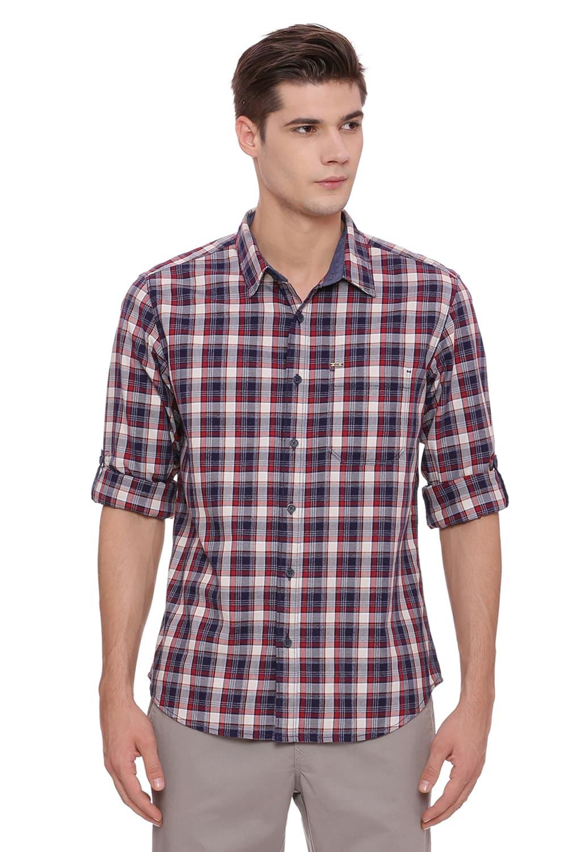 Basics   Basics Slim Fit Biking Red Checks Shirt