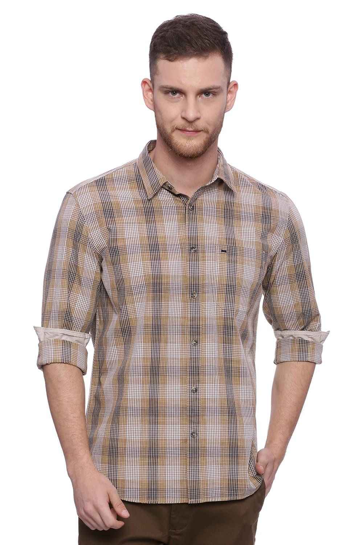 Basics | Basics Slim Fit Thrush Khaki Checks Shirt