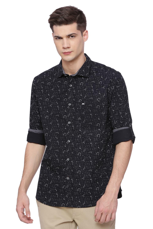 Basics | Basics Slim Fit Pirate Black Printed Shirt