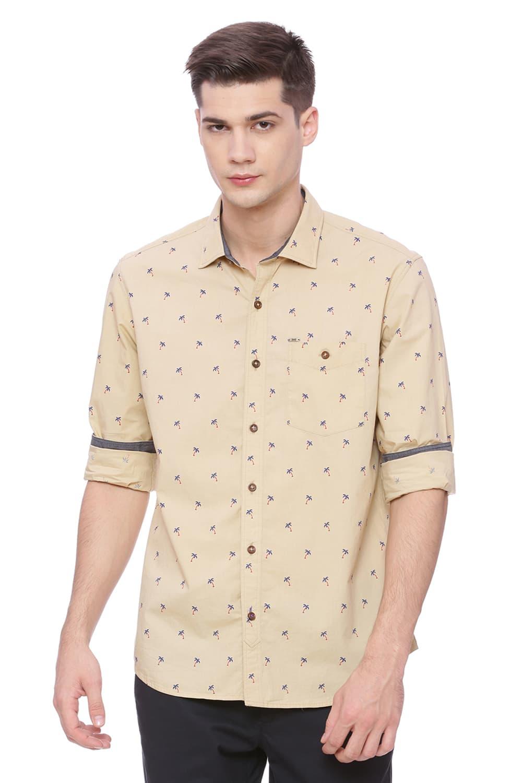 Basics   Basics Slim Fit Desert Khaki Printed Shirt
