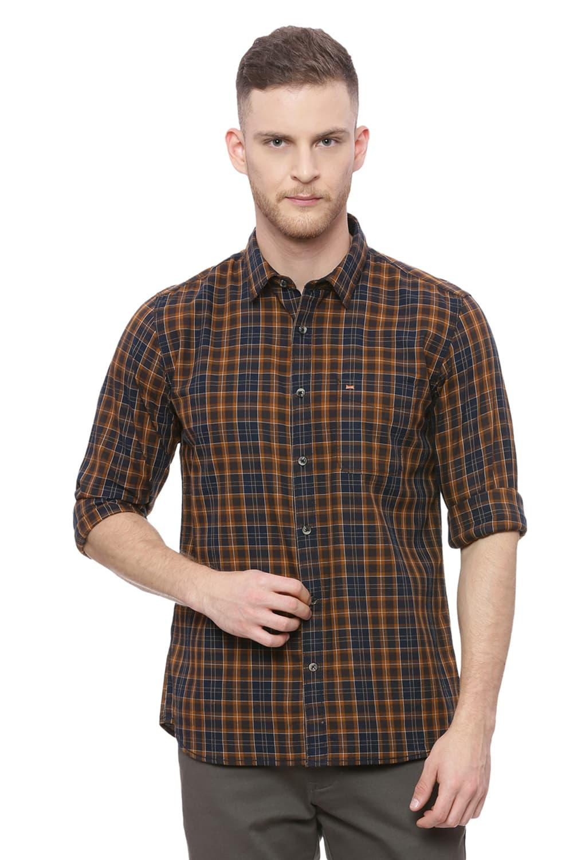 Basics | Basics Slim Fit Parch Khaki Checks Shirt