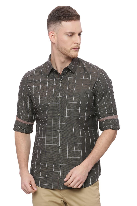 Basics | Basics Slim Fit Cub Brown Checks Shirt
