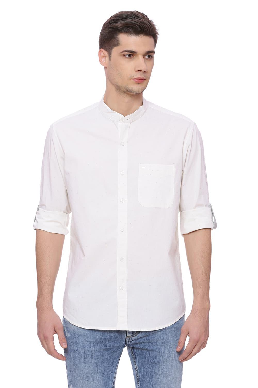 Basics   Basics Slim Fit Whisper White Neps Shirt