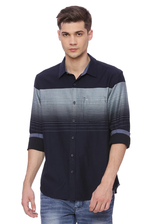 Basics | Basics Slim Fit Enamel Blue Weft Stripes Shirt