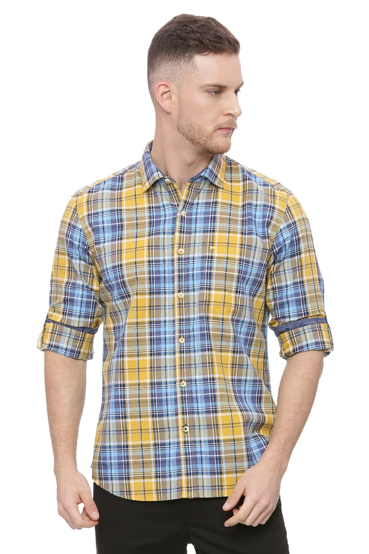 Basics | Basics Slim Fit Mineral Yellow Checks Shirt