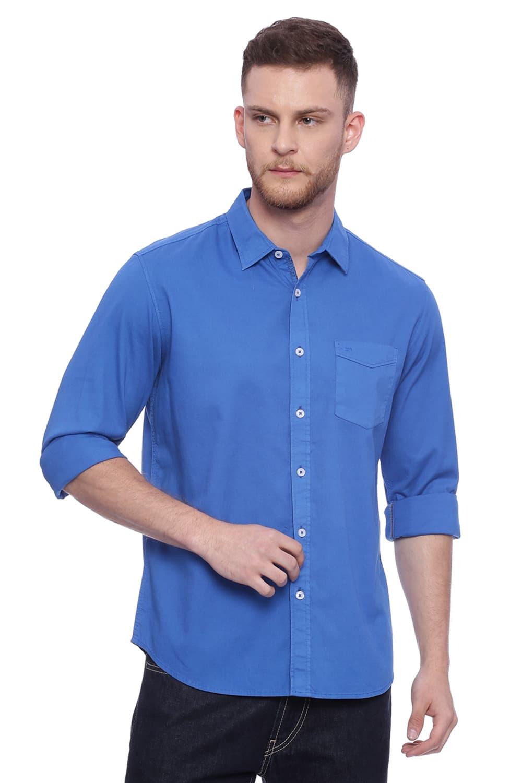 Basics | Basics Slim Fit Imperial Blue Dobby Stretch Shirt