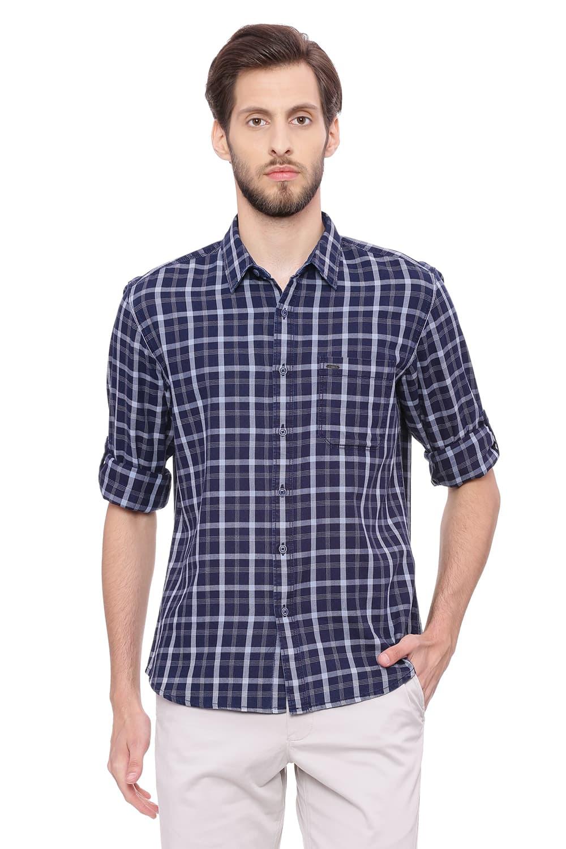 Basics | Basics Slim Fit Glacier Grey Checks Shirt