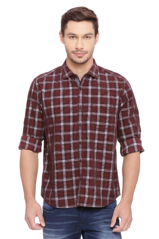 Basics | Basics Slim Fit Brunette Red Checks Shirt
