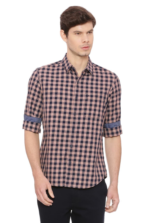 Basics | Basics Slim Fit Adobe Brown Checks Shirt