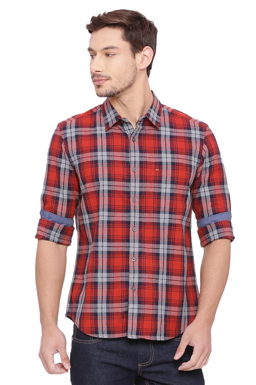 Basics   Basics Slim Fit Salsa Red Checks Shirt