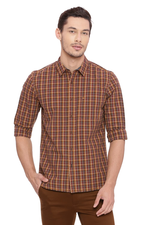 Basics | Basics Slim Fit Biscuit Khaki Checks Shirt