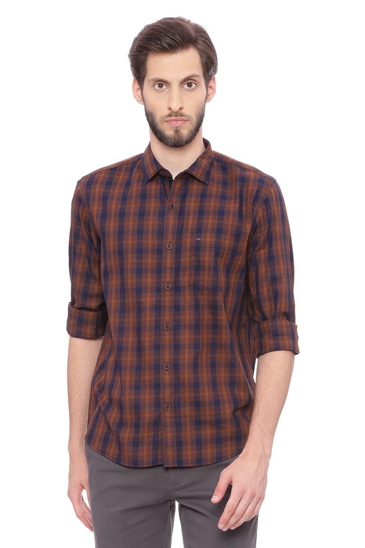 Basics   Basics Slim Fit Carob Brown Checks Shirt