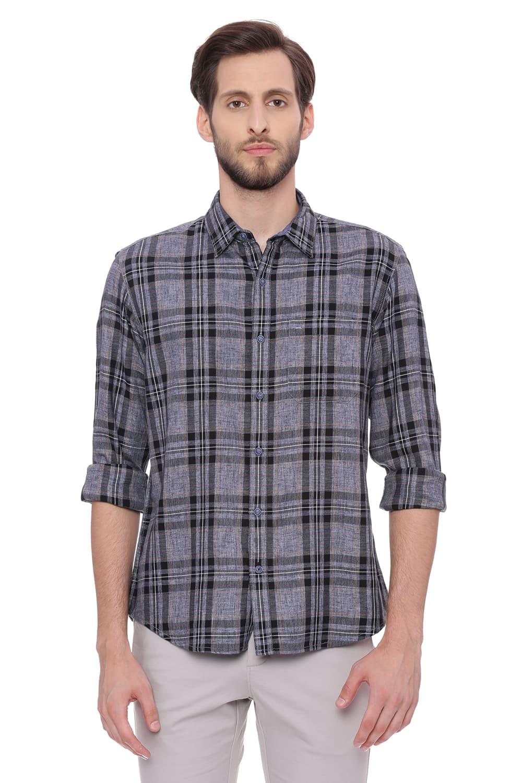 Basics | Basics Slim Fit Shade Blue Checks Shirt