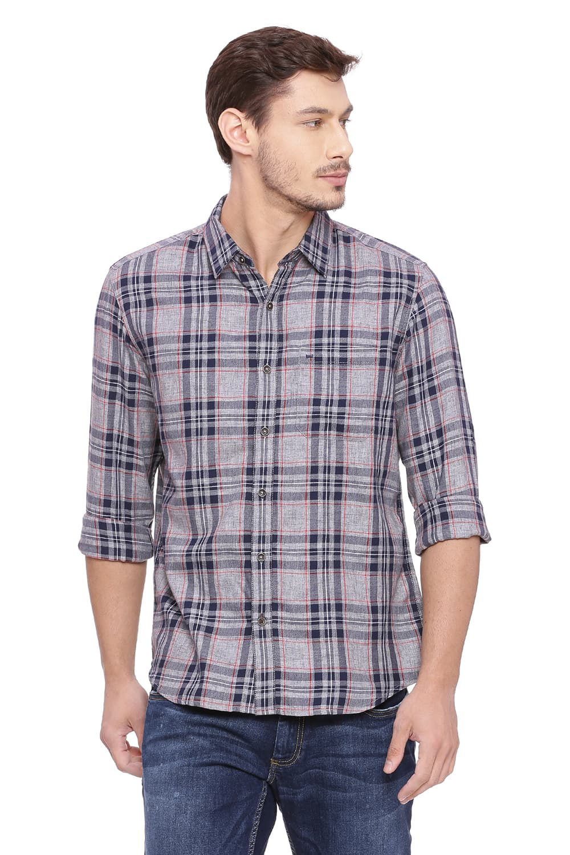 Basics | Basics Slim Fit Incense Grey Checks Shirt