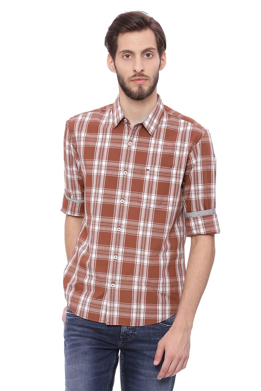 Basics   Basics Slim Fit Thrush Brown Checks Shirt