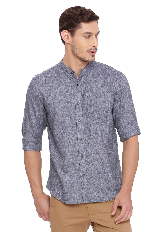 Basics | Basics Slim Fit Periscope Grey Twill Melange Shirt