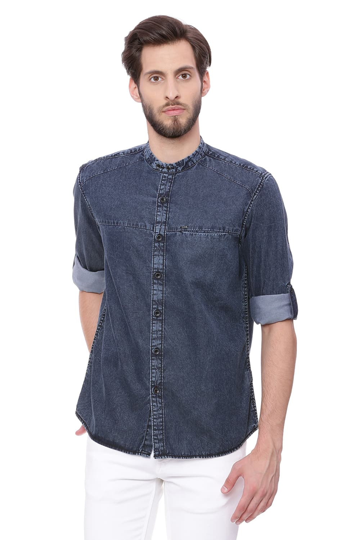 Basics | Basics Slim Fit Asphalt Grey Satin Indigo Shirt