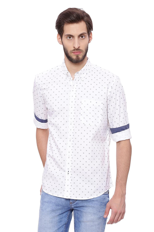 Basics   Basics Slim Fit Bright White Printed Shirt