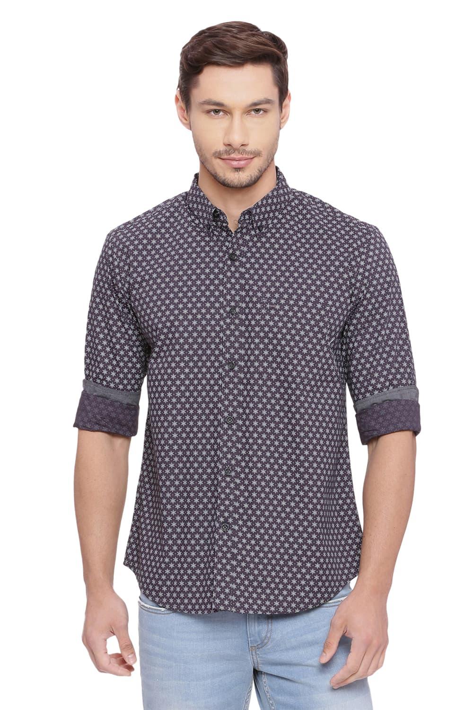 Basics | Basics Slim Fit Iron Grey Printed Shirt