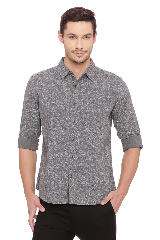 Basics | Basics Slim Fit Steel Grey Printed Shirt