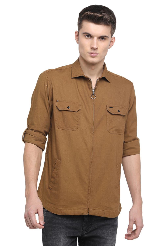 Basics | Basics Slim Fit Bronze Brown Twill Shirt