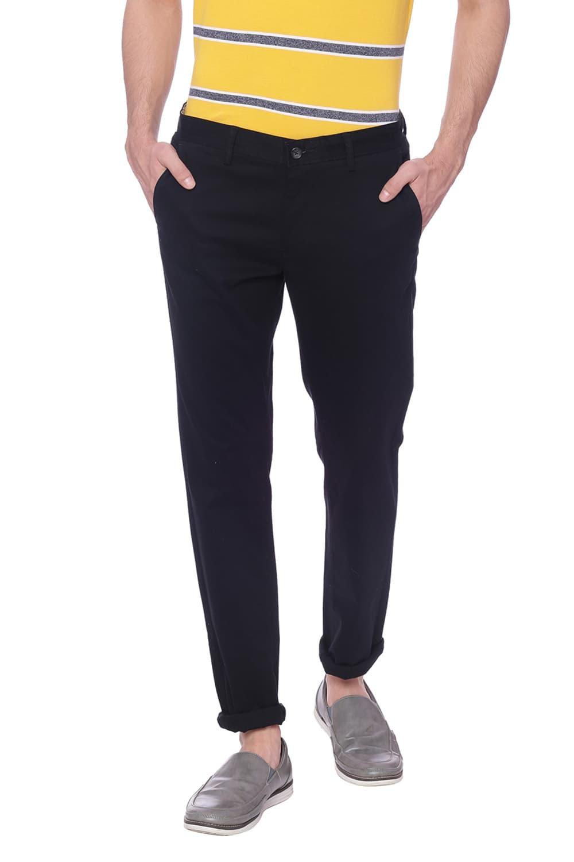 Basics | Basics Tapered Fit Jet Black Stretch Trouser