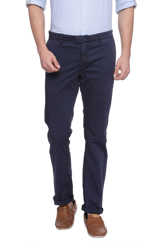 Basics | Basics Tapered Fit Night Sky Navy Satin Stretch Trouser