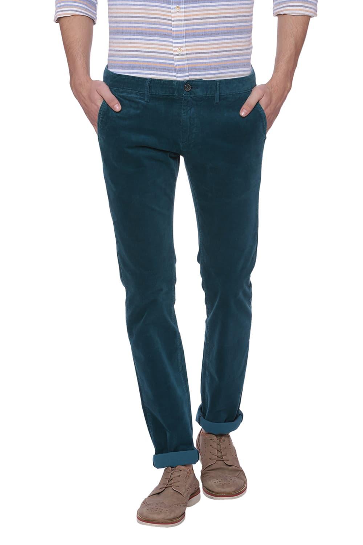 Basics   Basics Skinny Fit Deep Teal Turquoise Corduroy Stretch Trouser