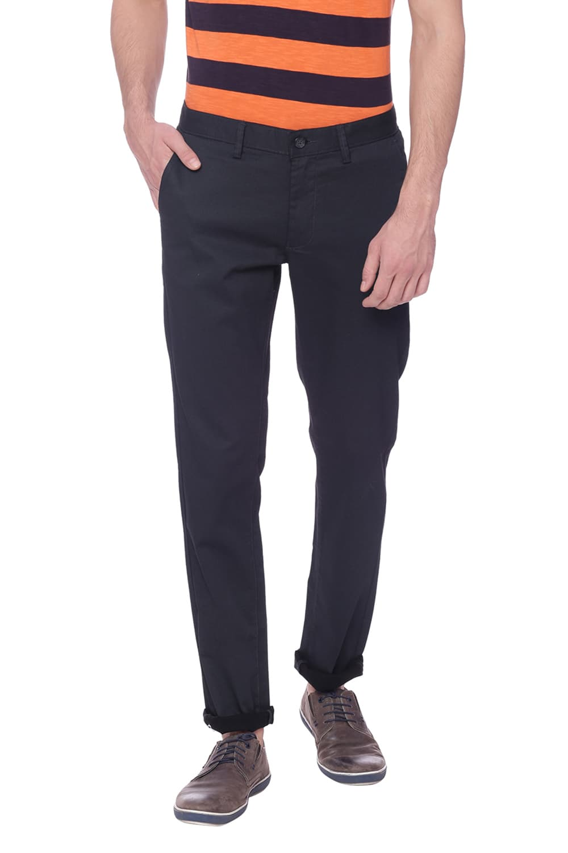 Basics   Basics Skinny Fit Jet Black Printed Trouser