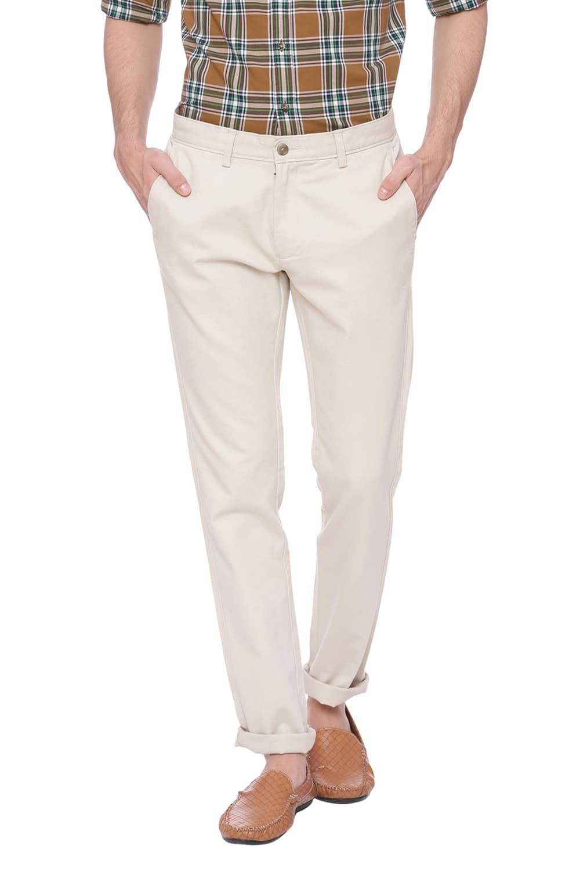 Basics   Basics Skinny Fit Oatmeal Gray Stretch Trouser