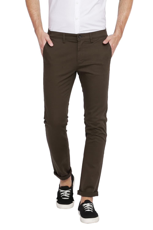 Basics   Basics Skinny Fit Tarmac Green Stretch Trouser