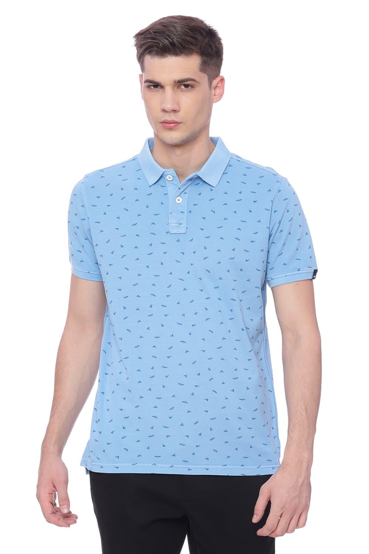 Basics   Basics Muscle Fit Alaskan Blue Printed Polo T Shirt