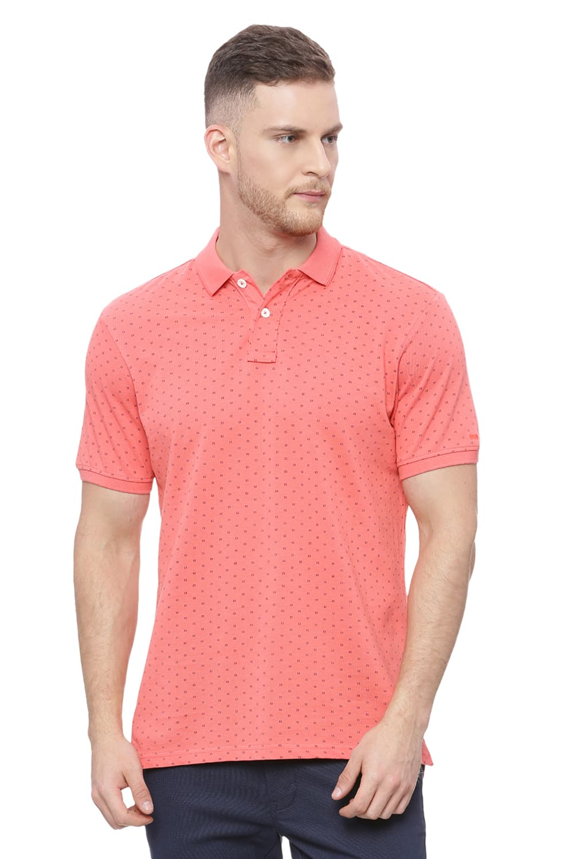 Basics | Basics Muscle Fit Pink Coral Printed Polo T Shirt