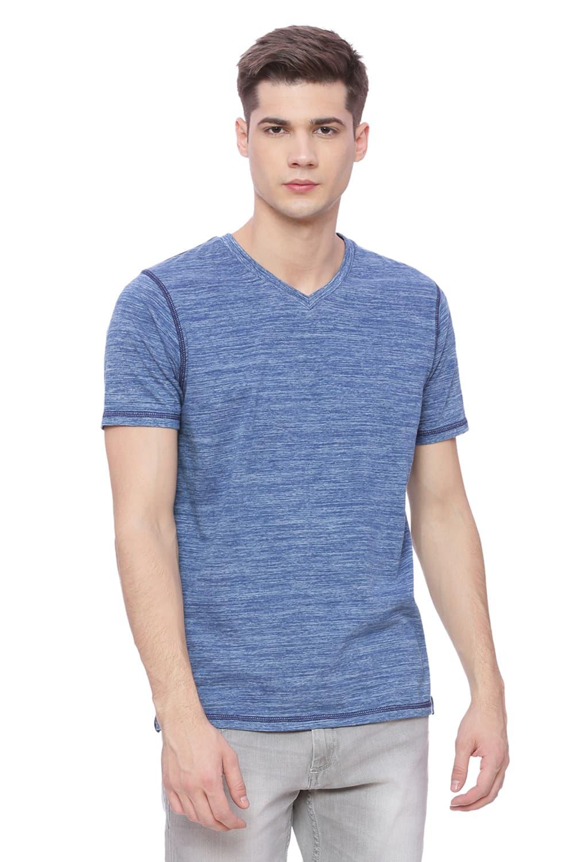 Basics | Basics Muscle Fit Spaced Denim V Neck T Shirt