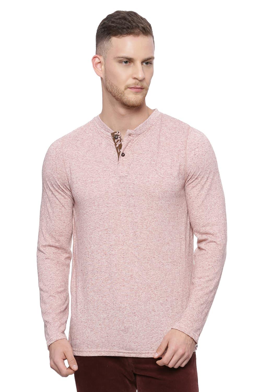 Basics | Basics Muscle Fit Bombay Brown Henley Long Sleeve T Shirt