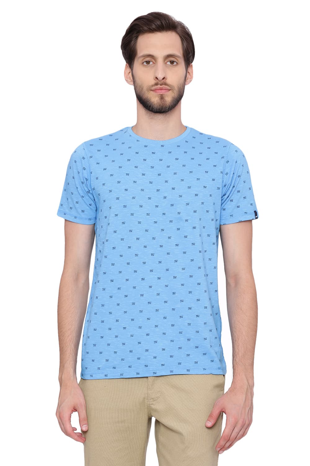 Basics   Basics Muscle Fit Ethereal Blue Printed Crew Neck T Shirt