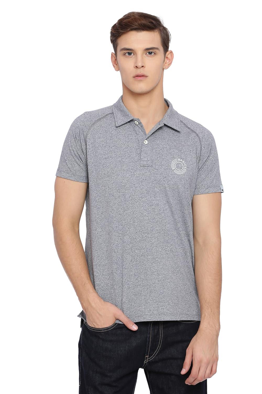 Basics   Basics Muscle Fit Neutral Grey Raglan Half Sleeve Polo T Shirt