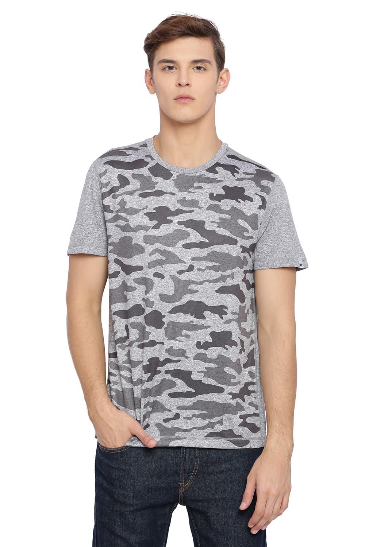 Basics   Basics Muscle Fit Neutral Grey Printed Crew Neck T Shirt