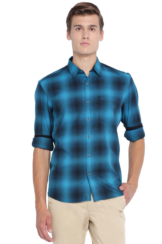 Basics | Basics Slim Fit Enamel Aqua Checks Shirt